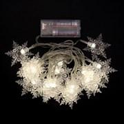 Гирлянда снежинки 20 диодов цвет теплый белый на батарейках (3хАА)