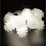 Гирлянда еловые шишки 3 метра 20 диодов цвет белый на батарейках (3хАА)
