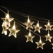 Гирлянда звезда и месяц 1 метр 10 диодов цвет теплый белый на батарейках (2хАА)