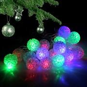 Гирлянда кристальные шарики 2 метра 10 диодов цвет теплый белый на батарейках (2хАА)