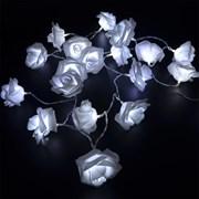 Гирлянда розы 20 диодов цвет теплый белый на батарейках (3хАА)