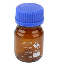 Бутыль с винтовой крышкой и градуировкой 100 мл (темное стекло) - фото 14549
