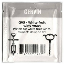 Винные дрожжи «Gervin — GV5 White Fruit Wine» для белых вин, 5 гр - фото 6807