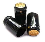 Термоколпачки для винных бутылок Ø31x55мм ЧЕРНЫЕ ГЛЯНЦЕВЫЕ С ЗОЛОТОЙ ПОЛОСКОЙ
