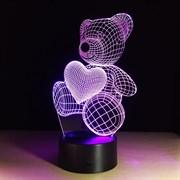 """3D лампа """"Плюшевый мишка"""",(светодиодный ночник)"""