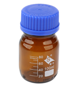 Бутыль с винтовой крышкой и градуировкой 100 мл (темное стекло)