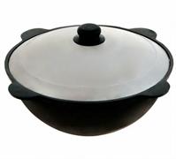 Узбекский чугунный казан с крышкой сковородой, дно плоское, 8 л