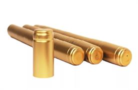 Термоколпачки для бутылок, 33*55, Золотые с отрывной частью, 100 шт (Л)