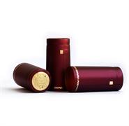 Термоколпачки для винных бутылок Ø31x55мм КРАСНЫЕ ГЛЯНЦЕВЫЕ С ЗОЛОТОЙ ПОЛОСКОЙ