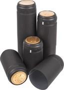 Термоколпачки для бутылок, 33*55, Черные с отрывной частью, 100 шт (Л)