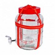 Банка стеклянная GL-70/5 с гидрозатвором и переноской -  25 литров с краником